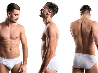 un hombre mostrando su cuerpo en tres posiciones diferentes